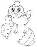Un polluelo de una página del colorante de la cáscara stock de ilustración