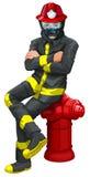 Un pompier s'asseyant au-dessus de la bouche d'incendie illustration de vecteur