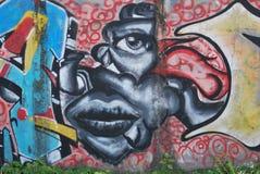 Un pont saccagé avec l'art de graffiti de rue Photographie stock