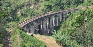 Un ponte di nove archi nello Sri Lanka Fotografia Stock Libera da Diritti