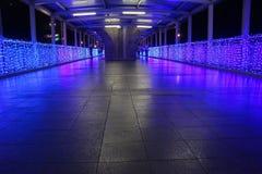 Un ponte ornato con le luci. Fotografia Stock Libera da Diritti