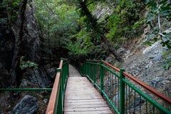 Un ponte pedonale turistico per accedere alle cascate di Millomeris vicino a Platres, Cipro Immagine Stock