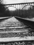 Un ponte sopra il parco nazionale della valle di Cuyahoga nell'OHIO nero & bianco- immagini stock libere da diritti