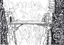 Un ponticello è in città del futuro. illustrazione di stock