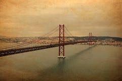 un ponticello dei 25 de abril a Lisbona Fotografie Stock Libere da Diritti