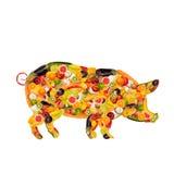 Un porc, composé de fruits et légumes Photographie stock libre de droits