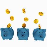 Un porcellino salvadanaio di tre blu per il risparmio con le monete in 3D rende l'immagine Fotografia Stock Libera da Diritti