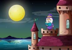 Un port de château avec un magicien lisant un livre illustration de vecteur