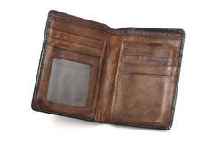 Un portefeuille en cuir brun utilisé par bien d'occasion photographie stock