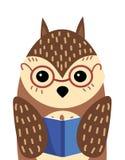 Un portrait de bande dessinée d'un hibou avec un livre Verres de port de hibou stylisé Art pour des enfants Illustration de vecte Illustration Libre de Droits