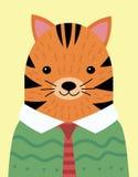 Un portrait de bande dessinée d'un tigre dans un chandail Tigre stylisé dans un lien Art pour des enfants Illustration de vecteur Illustration Stock
