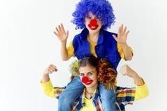 Un portrait de deux clowns Photos stock