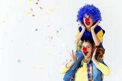 Un portrait de deux clowns Image libre de droits