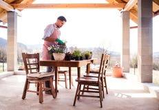 Un portrait de jardinier de jeune homme dehors ? la maison, plantant des fleurs photos libres de droits