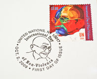 UN Postage stamp dedicating Mahatma Gandhi Stock Images