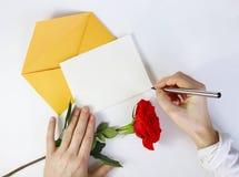 Un posto per le iscrizioni lettera al vostro caro fotografie stock