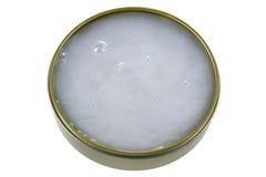 Un pot de Mink Oil, pour lubrifier le cuir Image stock