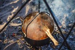 Un pot de nourriture à l'enjeu Photo libre de droits