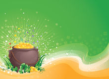 Un POT di oro il giorno del Patrick santo. Fotografie Stock