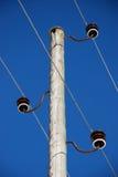 Vieux poteau en bois de l'électricité Photographie stock libre de droits