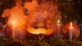 Un potiron terrible dans la fumée Concept de Veille de la toussaint banque de vidéos