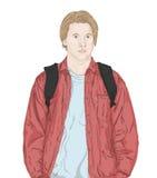 Un potrait d'un jeune homme blond dans une veste et un T-shirt Photographie stock