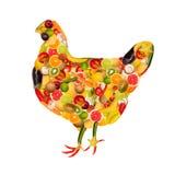 Un poulet, composé de fruits et légumes Photo libre de droits