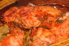 Un poulet, viande de rôti, cuisinier en four image libre de droits