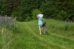 Un prado moreno joven del lupine de la muchacha fotos de archivo