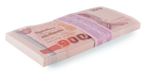 Un prezzo delle banconote della Tailandia di cento isolato su backgr bianco Fotografia Stock Libera da Diritti