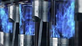 Un primer del motor en la cámara lenta con explosiones azules del combustible ilustración del vector