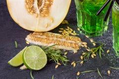 Un primo piano dei frutti esotici Tagli il melone Cocktail verdi dell'alcool con le paglie Foglie del dragoncello e calce fresca  Immagine Stock Libera da Diritti