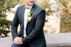 Un primo piano del mento di uno sposo alla moda barbuto per correggere una farfalla con un occhiello nel telaio fotografia stock libera da diritti