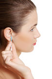 Un primo piano dell'orecchio. Fotografie Stock Libere da Diritti