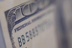 Un primo piano della banconota $100 Fotografie Stock