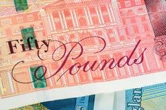 Un primo piano della banconota di 50 GBP Fotografia Stock Libera da Diritti