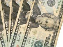 Un primo piano delle venti fatture del dollaro immagine stock libera da diritti