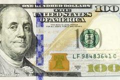 Un primo piano di cento dollari di Bill Immagine Stock Libera da Diritti