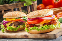Un primo piano di due hamburger casalinghi ha reso a ââfrom la verdura fresca Fotografie Stock