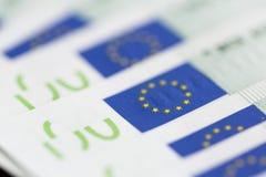 Un primo piano di 100 euro banconote Immagine Stock Libera da Diritti