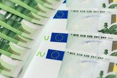 Un primo piano di 100 euro banconote Fotografia Stock