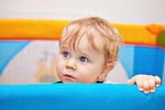 Un primo piano di un neonato di anno Fotografia Stock