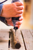 Un primo piano di un uomo del hardworker che perfora un bastone di legno con il suo trapano su un fondo di legno Immagini Stock