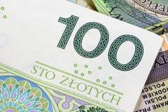 Un primo piano di una banconota di 100 pln Fotografie Stock Libere da Diritti
