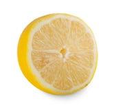 Un primo piano giallo fresco del centro del limone isolato su fondo bianco Fotografia Stock Libera da Diritti