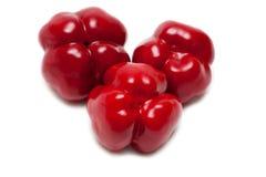 Un primo piano rosso dei tre peperoni dolci Immagine Stock Libera da Diritti