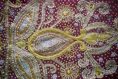 Un primo piano tradizionale dei sari di Jamdani Immagini Stock Libere da Diritti