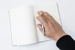 Un principio de la persona a escribir Imagen de archivo