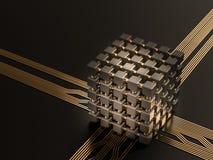 Un procesador (microchip) interconectó la recepción y el envío de la información Concepto de tecnología y de futuro Foto de archivo libre de regalías
