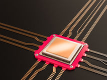 Un processeur (puce) a relié ensemble recevoir et envoyer l'information Concept de technologie et de contrat à terme Photo libre de droits